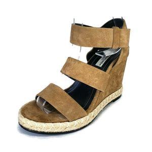 Balenciaga Suede Leather Wedge Espadrilles Sandals